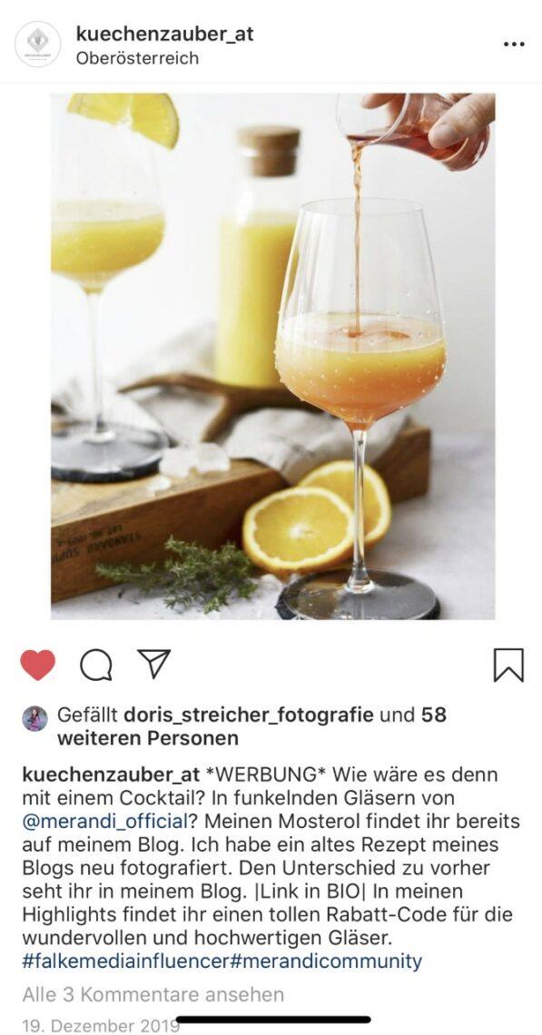 FALKEmedia-Influencerin @kuechenzauber_at präsentiert die hochwertigen Gläser von Merandi ihrer Community.